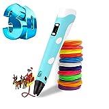 Bolígrafo 3D, bolígrafo de impresión 3D inteligente con filamento de 12 colores, compatible con PLA y ABS, Pantalla LCD, 3D Pen Juguetes/Regalos para Niños