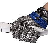 ThreeH Guantes de trabajo resistentes al corte de acero inoxidable Guantes de alambre 316L Nivel 5 de protección Para Cocina Carnicero GL09 S(Un guante)