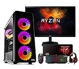 Megamania PC Gaming AMD Ryzen 5 2400G Ordenador de sobremesa 3.96GHz Turbo Quad Core | 16GB DDR4 | SSD 480GB | Gráfica AMD Radeon Vega 10 núcleos + Monitor Ultra Fino LED FullHD 23' IPS + Kit Gaming
