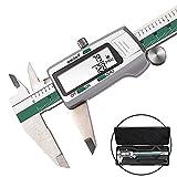 Calibre digital de 150 mm, calibre digital de acero inoxidable, alta precisión, con pantalla LCD en pulgadas, calibrador métrico para medición externa, interna, profundidad y paso