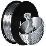 TEQStone Filamento PLA de seda plateada de 1,75 mm para impresora 3D y bolígrafos 3D, en embalaje al vacío, bobina de 1 kg