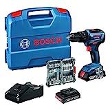 Bosch Professional 18 V System Taladro Percutor a Batería GSB 18 V-55, Par de Torsión Hasta 55 Nm, Incluye 2 x 2.0 Ah Batería + Cargador, 35 piezas, Accesorios de Impacto, en L-Case, Amazon Exclusive